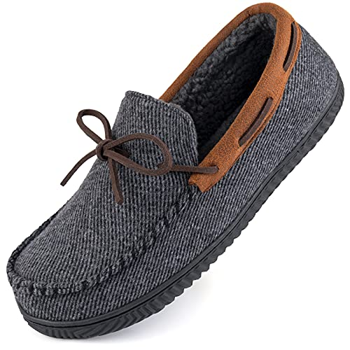 ULTRAIDEAS Zapatillas Mocasín Confort para Hombre Zapatos de casa de Espuma viscoelástica con Suela de Goma Antideslizante, Interior/Exterior,Gris Oscuro,43 EU