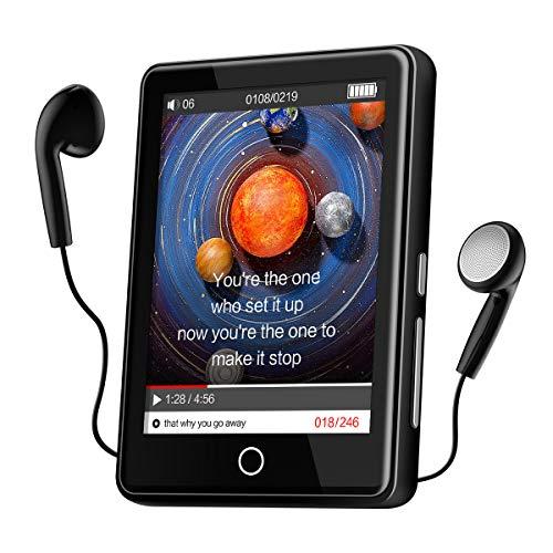 MP3 Player Bluetooth 5.1 Speicher 32GB mit 2,8 Zoll Touchscreen Tragbarer MP3-Player FM Radio Diktiergerät mit Kopfhörern E-Book Puzzlespiel Video Player Speicher bis zu 128 GB