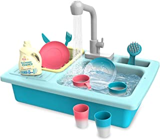 Kid Labsters Pretend Play Sink Set - Pretend Kitchen Sink and Dishwashing Playset - Plastic Diner and Playhouse Toy Accessories - Dish Washing/Working Activity Center for Kids