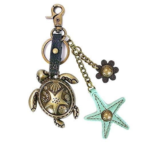 Chala handbag Key Fob Chala Bronze Color Metal- Purse Charm, Key Fob, keychain decorative accessories (Turtle-Star), Small