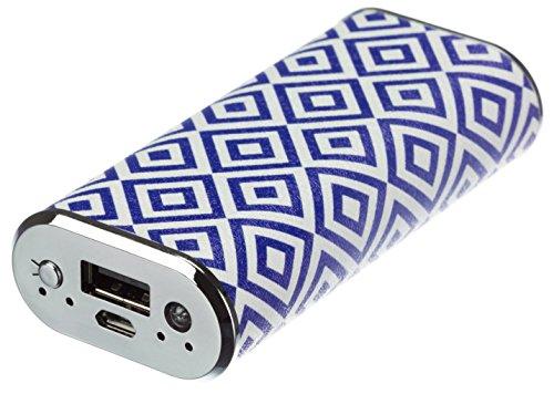 Trendz Universal Fashion 4000 mAh PU Leder Premium Tragbare Powerbank Externer Akku Notladegerät Emergency Battery Charger Pack Kompatibel mit Smartphones, Tablets und MP3 Playern - Geo