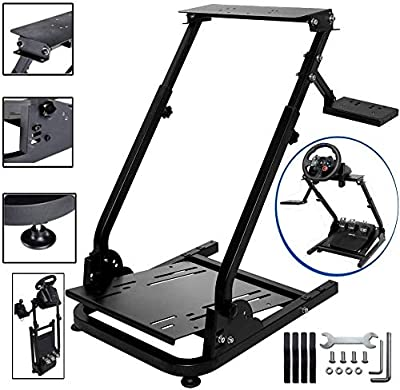 Racing Wheel Stand Height Adjustable Steering Wheel Stand Compatible with Logitech G25, G27, G29, G920 Gaming Cockpit (Wheel and Pedals Not Included)