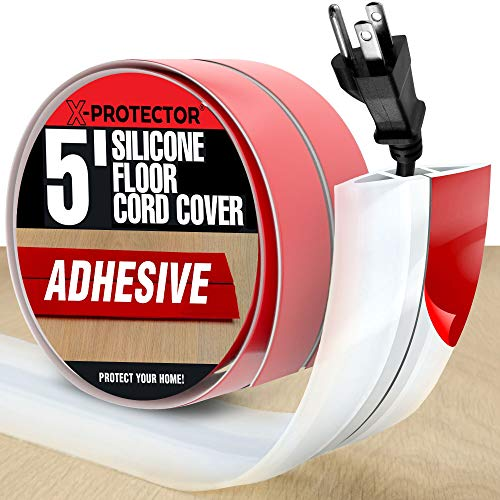 Floor Cord Cover by X-Protector – 5' Overfloor Cord Protector – Self-Adhesive Power Cable Protector – Silicone White Cord Protector – Ideal Extension Cord Cover to Protect Wires On Floor (60 in)