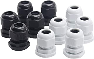CJIANHUA 10pcs Nylon Plastic Cable Gland Connector IP68 PG7 for 3-6.5mm PG9 PG11 PG13.5 PG16 PG19 Wire Cable CE White Blac...
