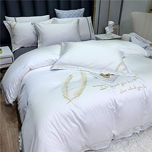 LCFCYY Double Size Duvet Covers,Comfortable long staple cotton bedding kit,solid color embroidery quilt cover and wide sided pillowcase N 200 * 230cm(4pcs)