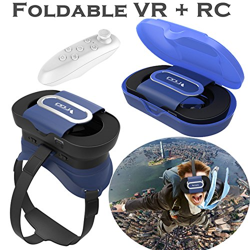"""VR Headset Virtual Reality Goggles for iPhone X 8 7 6 6S Plus, Samsung Galaxy S9 S8 S7 S6 Edge S5 A3 A5 & Other 4.5-6.0"""" Cellphones - Foldable VR Glasses, Blue"""