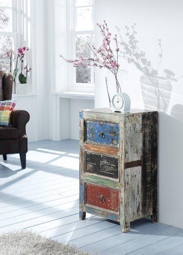 Wolf Möbel Kommode mit 3 Schubladen aus recyceltem Holz Mehrfarbig Himalaya