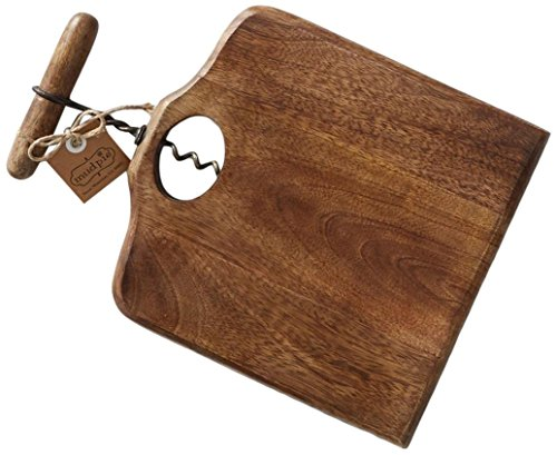 Mud Pie Reserve Collection Square Serving Board with Corkscrew Accent