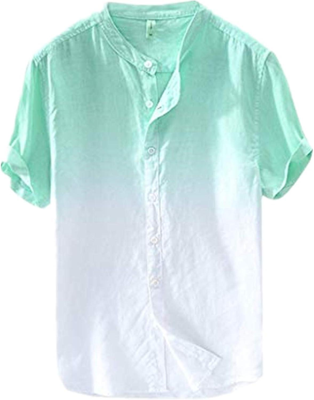 KLGDA Men's Slim Fit Dip Dye Linen Hawaiian Shirt,Vintage Round Collar Chinese Style Henley Shirts Short Sleeve Tops
