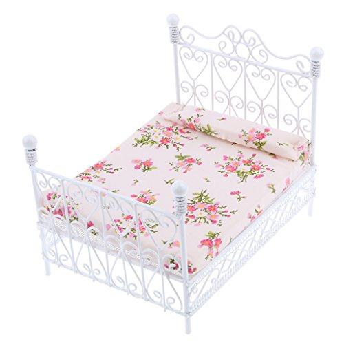SODIAL 1: 12 Puppenhaus Miniatur Schlafzimmer Moebel Metall Bett mit Matratze Zubehoer Spielzeug weiss