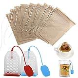 102 bolsas de filtro de té, FineGood 100 piezas de papel sin blanquear...