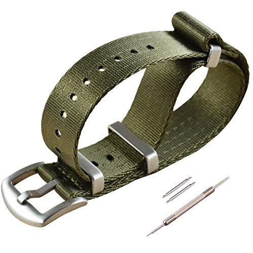 22mm Grün NATO Uhrenarmband Sicherheitsgurt Nylon Watch Strap G10 Armband Herren Gebürstete Schnalle