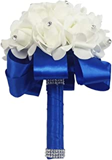 Eternal Blossom Wedding Bouquet, Crystal Pearl Silk Rose Bride Bridesmaid Wedding Holding Roses, 2520cm Artificial Fake Flowers for Wedding Parties and Churches (Blue)