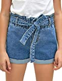 luvamia Girls Casual Denim Shorts Elastic Waist Folded Hem Belt Jeans Denim Shorts 4-13 Years Light Blue Size Large (8-9 Years)