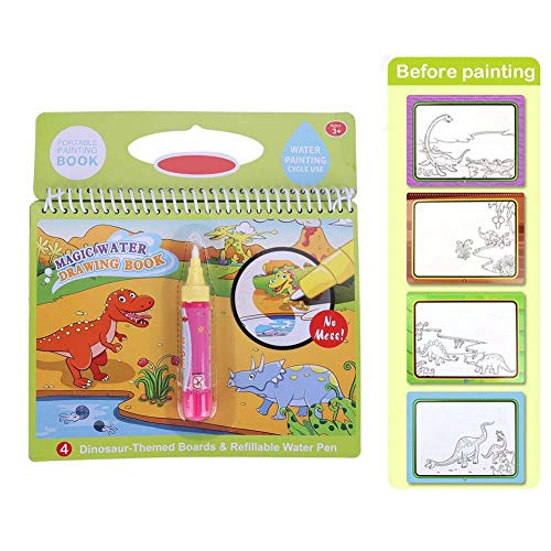 Libro da Disegno ad Acqua, Libro da colorare Magico Portatile dell'Acqua con Il Libro di Disegno dell'Acqua della Penna Magica per Il Regalo del Giocattolo dei Bambini(Veicolo) (Dinosauro)