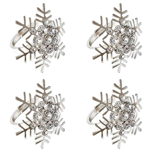 Schneeflocke Serviettenringe 4 pcs Weihnachtslegierungs-Serviettenringe mit ausgehöhlten Strass-Serviettenringen Verzierung Exquisite Haushaltsserviettenringe Set für Hochzeit Muttertag Party Silver