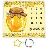 Bees Theme Baby Monthly Milestone Blanket, 48x40in Soft Flannel, Honey Jar Backgrounds, Newborn Mom Gifts, Baby Shower Age Growth Tracker with Bonus Maker BTLSFS35
