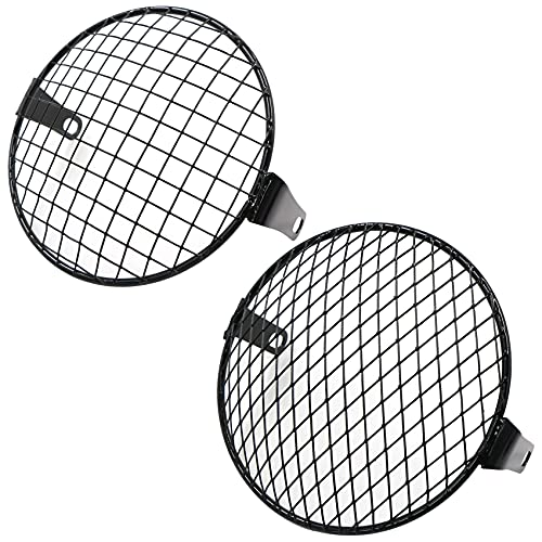 Motorcycle Headlight Grille - Motorcycle Mesh Metal Grill Cover Protective Grille Headlight Headlight Grille for Motorcycles Cruiser Chopper Bobber Cafe Racer (Pack of 2)
