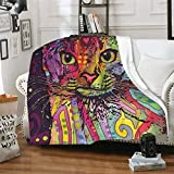 Dean Russo 9 Lives Cat Fleece Throw Blanket Soft and Warm Flannel Blanket for Couch Sofa,Bed 60'x50'