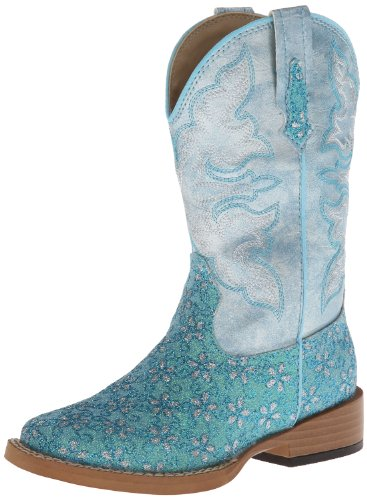 Roper Square Toe Glitter Floral Western Boot (Toddler/Little Kid),Turquoise,13 M US Little Kid