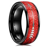 King Will Men's 8mm Black Tungsten Carbide Ring Inlay Red Meteorite Sticker& Arrow Wedding Band Dome Style 10.5