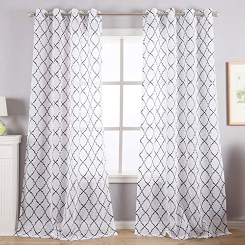 Kotile White Sheer Curtains for Bedroom - Black Foil Moroccan Pattern Print Window Curtains 63 Inch Length Quatrefoil Pattern Black White Sheer Curtains 2 Panels for Dining Room, 52 x 63 Inch
