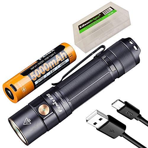 Fenix E35 V3.0 3000 Lumen USB-C wiederaufladbare LED-Taschenlampe mit 5000 mAh Akku und EdisonBright Akku-Tragetasche.