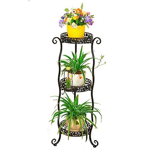 ZHEN GUO Support de plante de décor à la maison de style européen, pot de fleur de fer en métal rond porte-supports intérieur/extérieur (Couleur : Noir, taille : 3 Tier)