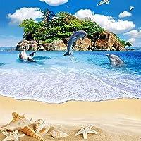 カスタム3D壁画壁紙シーアイランドドルフィンビーチ風景フローリング粘着壁画ステッカー紙-200x140cm