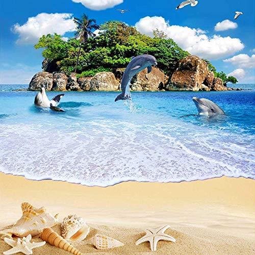 Murales de pared 3D personalizados Papel tapiz Sea Island Dolphin Beach Paisaje PVC Suelo de vinilo Impermeable Autoadhesivo Mural Sticker Paper-350 * 275cm