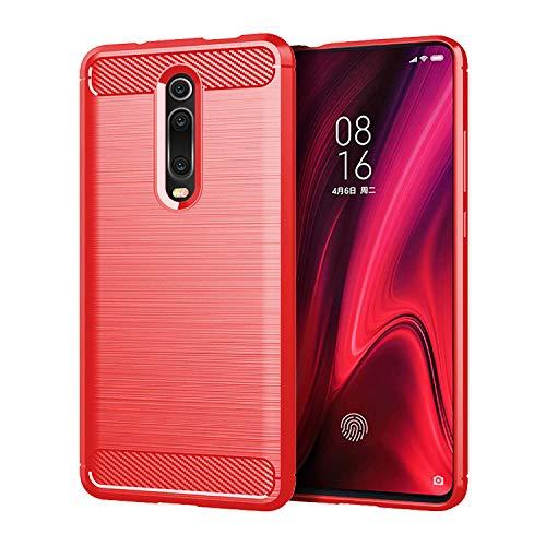 Capa Capinha Anti Impacto Para Xiaomi Mi 9T E Redmi K20 e K20 Pro Tela De 6.39 Case Com Desenho Fibra De Carbono - Danet (Vermelho)