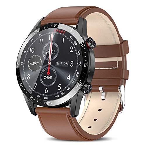 Smartwatch,Pantalla Inteligente de 1.3' Relojes Inteligentes Impermeable IP68 para Mujer Hombre, Reloj de Fitness con Monitor de Frecuencia Cardíaca/Sueño/Calorías/Pasos,para iOS Android,Marrón