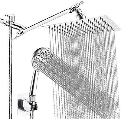 Shower Head, 8'' High Pressure Stainless Steel Rainfall Shower Head, Handheld Shower Combo, with 11'' Extension Arm, 9 Settings Anti-leak Shower Head with Holder, 5FT Hose, Flow Regulator, 4 Hooks