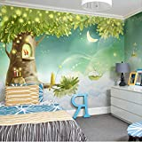 Anasc Benutzerdefinierte Fototapete, 3D Traum Cartoon Kinderzimmer Kunstwand, Wohnzimmer Schlafzimmer Dekoration Wandtuch-260(W) x 175(H) cm