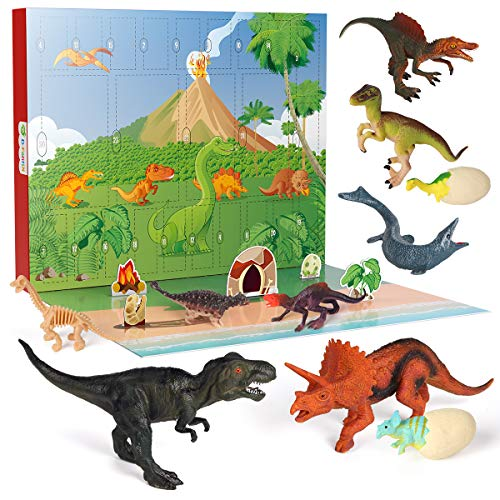 D-FantiX Dinosaur Toys Advent Calendar 2020 for Kids, Christmas Countdown Calendar 24Pcs Dinosaur Figures Advent Calendars Figure Toys 24 Days Count Down Xmas Gift for Boys and Girls 3 4 5 6 Years Old