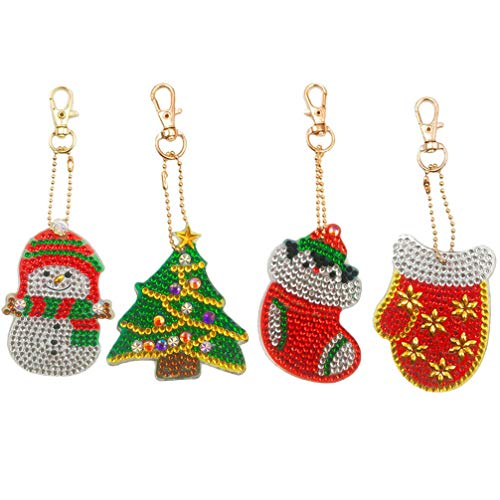 Amosfun 4pcs Christmas DIY Diamond Keychains Santa Claus Snowman Tree Keychains Christmas DIY Painting Full Drill Pendants Keyring (Style 1)