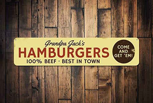 Fhdang Decor Hamburgers 100% Boeuf Sign, personnalisé en Ville Come & Get 'Em. Panneau, Grill Master Nom de Cuisine Panneau, Plaque en métal, 10,2 x 45,7 cm