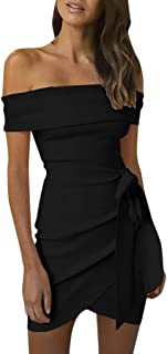 Goddessvan Women Cocktail Dresses Off Shoulder Self Belted Ruched Slash Neck Mini Dress