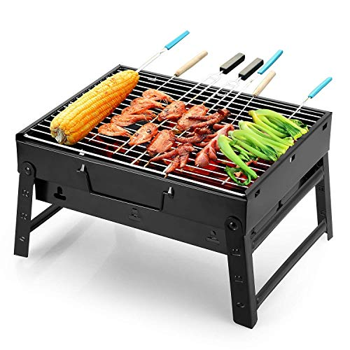 SQUICKLE New Metal Folding Portable Outdoor Charcoal BBQ Grill, Charcoal Set for Home and Outdoor Oven Black Carbon Steel, Black