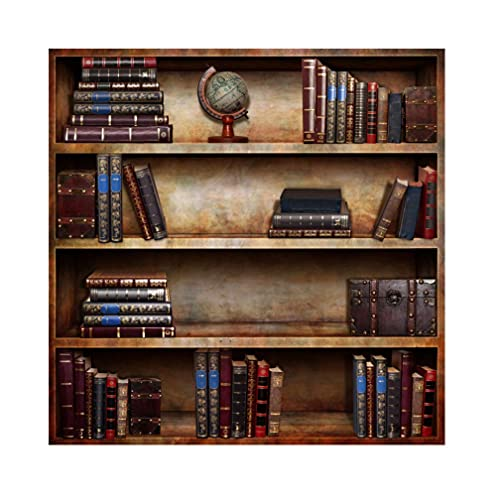 Laeacco 8x8ft Old Books Bookshelf Photography Background Ancient Style Globe Vintage Bookcase Background Room Wall Decoration Students Adult Art Photo Shoot Portrait Online Teaching TV Video Prop