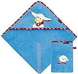 Morgenstern Set Kapuzenhandtuch mit Waschhandschuh aus Bio Baumwolle blau Frottee OEKO-TEX Kapuze mit Ohren und Schafmotiv mit 100 x 100 cm extra groß