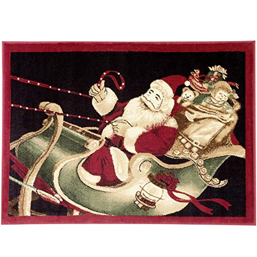Christmas Rug Holiday Décor Santa on Sled Area Rug Approximately: 3ft4in X 4ft6in Woven for Home Dining Room Living Room