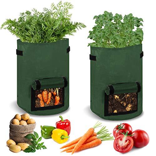 KATELUO 2 Pcs Pflanzen Tasche, Kartoffel Pflanzsack aus Vliesstoff, Gallonen Wiederverwendbar Pflanzbeutel Wachsende Tasche mit Sichtfenster und Griffen, Pflanztaschen für Blumen, Pflanzen, Gemüse