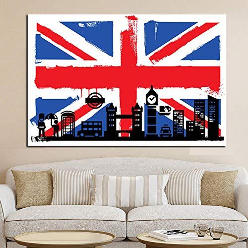 ZNuQP HD-Druck der britischen Londoner Flagge mit abstraktem Big Ben-Ölgemälde auf Leinwand modernes Wandkunstbild für Wohnzimmer-Sofa-Poster-60x80cm -No Frame