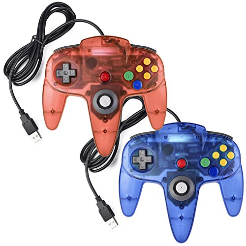 miadore 2X USB N64 64 Controller Plug & Play Joystick Gamepad N64 PC-Controller für Windows PC MAC Raspberry Pi3 Retro Pie (Blau/Rot)