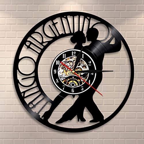 ROMK Reloj de Pared Pareja Bailarina Tango Moderno Reloj de Vinilo Reloj de Pared Tango Argentina Dancing Wall Art Reloj Vintage Regalo para Amantes del Baile