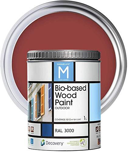 Holz-Farbe   Bio-based Wood Paint   Feuerrot   1 L   RAL 3000   Ökologische Farbe Für alle Arten von Holz   Holz im Außenbereich Farbe mit halb fertig aussehen warm und seidenmatt