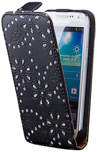 iCues Samsung Galaxy S4 MINI |  Glitzer Klapp Tasche Schwarz | [Display Schutzfolie Inklusive] Strass Glitzer Glitter Luxus Bling Damen Frauen Mädchen Leder - Imitat Book Klapphülle Schutz Etui Handytasche zum aufklappen Flip Case Schutzhülle Booklet Hülle Wallet