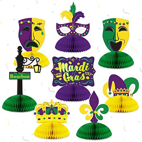 Mardi Gras Honeycomb Party Centerpieces Mardi Gras Table Decoration Masquerade Masks Crown Signs for New Orleans Bachelorette Party Supplies Fat Tuesday Home Decor 8pcs