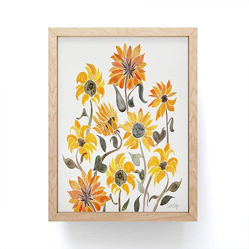 Society6 Cat Coquillette Sunflower Watercolor Yellow Mini Art Print, Maple Frame